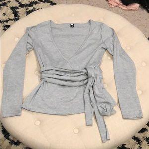 Tops - Gray cotton faux wrap shirt